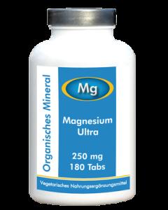Magnesium Ultra 250mg, 180 Tabs - Organisches Magnesium & Glycin bioverfügbar & VEGGY